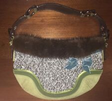 Coach Designer Bag With Mink And Python Trim