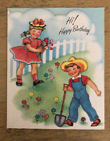 Vintage Gardening Girl And Boy Birthday Card Unsigned No Envelope