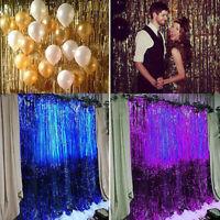 Backdrop Shimmer Foil Glitter Metallic Tinsel Curtain Fringe Window Party Decor