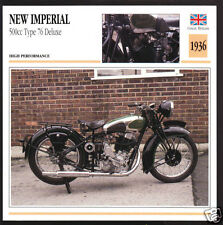 1936 New Imperial 500cc Type 76 Deluxe (496cc) Motorcycle Photo Spec Sheet Card