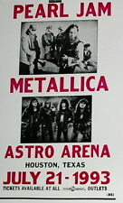 "Pearl Jam & Metallica Concert Poster - 1993 Astro Arena - Houston, TX - 14""x22"""