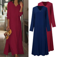 Womens Kaftan Long Sleeve V Neck Plain Evening Formal Dresses Long Maxi Dress