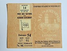 Ticket / Billet Jeux Olympique Londres 1948 Cérémonie cloture