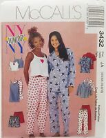 Girls Pajama Top Pants Shorts Camisole Gown Pattern 3432 Size 3 4 5 6 7 8 9 10