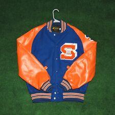 Vintage Letterman Varsity Jacket S Syracuse Style Royal Blue Orange Sz M Wool