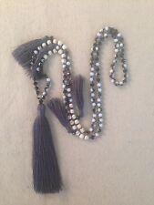 Long Black White Glass Crystal And Cream Stone Bead Tassel Necklace.Grey Tassel