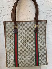 VINTAGE GUCCI GG SUPREME CANVAS RED GREEN STRIPE SHOPPER TOTE BAG