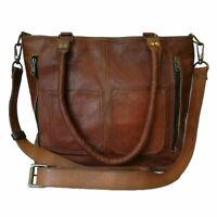 Women's Genuine Brown Leather Shoulder Tote Handbag Purse Satchel Cross-body Bag