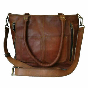 Women's Genuine Brown Leather Shoulder Tote Handbag Purse Satchel Cross-body Bag