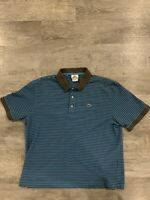Mens Blue and Grey Striped Short Sleeve Lacoste Polo Size 6 (XL)