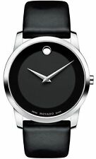 Movado Museum Classic Swiss Black Dial Silver Black Leather Men Watch 0606502 SD