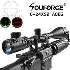 Illuminated 6-24x50AOEG Red/Green Mil dot Rifle Scope Sight&20mm Rail Mount Hunt