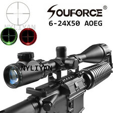6-24x50AOEG Air Rifle Scope Red/Green Mildot Rifle Scope &20mm Rail Mount