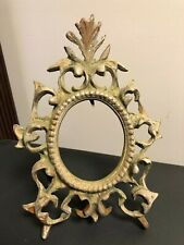 "Vintage Ornate Cast Metal Easel Oval Picture Frame Holds 3 1/2"" X 2 1/2"""