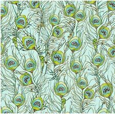 Pretty as a Peacock - Jeweled Feathers - Pale Aqua/Gold - 100% cotton Fabric