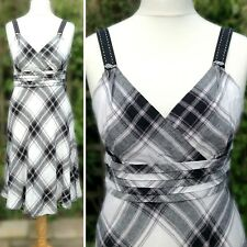 Monsoon Pure Linen Dress Fit & Flare Plaid Check Summer Sun Grey Black White 12