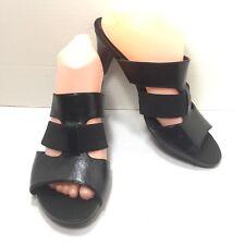 Women's Aerosoles Black Stappy Slip On High Heel Mules Sandals Size 10 M