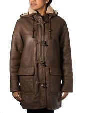 Women's Brown Long Smart Winter Real Shearling Sheepskin Leather Duffle Coat