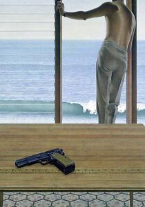 Alex Colville Pacific Man Gun Beach Ocean Surf Quality Art Canvas Print A4