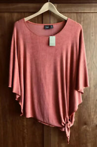 BNWT TRAVELERS BY CHICO'S Size 0 (UK 8 S) ORANGE TOP 3/4 Batwing Sleeves Ginger