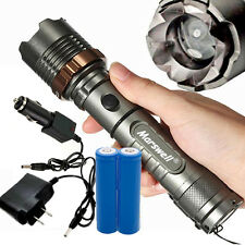 LED Zoom Flashlight Torch Rechargeable + 18650 Battery + US Charger