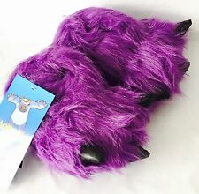 NEW Purple Furry Monster Feet NOVELTY Girls SLIPPERS size 10 UK SELLER