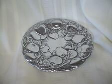"""7 3/4"""" Round Tray Plate with Apples Guido Argentina Pewter/Aluminum?"""