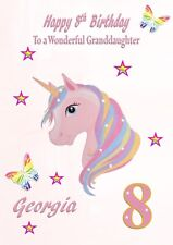 personalised birthday card uncorn daughter grandaughter Niece sister k