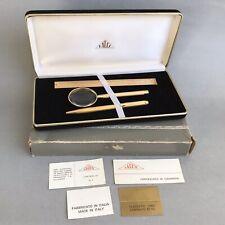 Vtg LALEX Pen Set with Magnifier, Ruler & Velvet Box 22kt Yellow Gold Plated