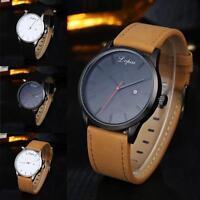Luxury Men's  Stainless Steel Date Analog Quartz Leather Sport Dress Wrist Watch