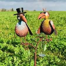 Pluviomètre décoratif de jardin motif corbeaux colorés 127 cm -Neuf