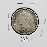 1880 H Canada 10 Cents Dime Coin Choice Fine / VF Very Fine Circulated