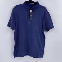 Express mens flex stretch polo shirt sz L Large navy polka dot NWT