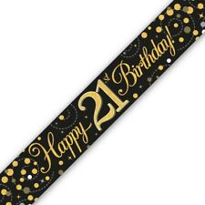 Holographic Black & Gold Happy 21st Birthday Banner 270 cm long repeats 3 times