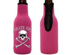 Pirate Girl Pink Neoprene Bottle Suit Beverage Cooler Skull Crossbones
