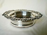 Antique Silver Plated Sheffield Plate Floral Design Wine Bottle Coaster