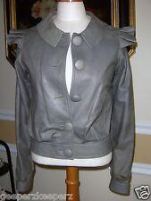 Ladies Smokey Gray Smooth Glove Leather Bomber Jacket Size Small Australia KRMA