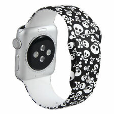 SKULL Silicone Sport Band Strap For Apple Watch iWatch 38mm 42mm 40mm 44mm
