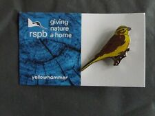 RSPB GNaH yellowhammer Metal Pin Badge on Blue FR Card