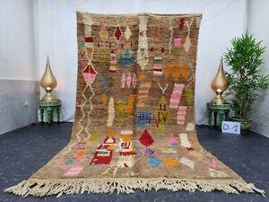"Moroccan Boujaad Handmade Rug 5'3""x8'7"" Berber Abstract Red Brown Wool Rug"