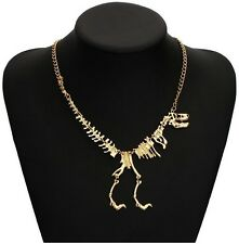 Gold Walking Skeleton Dinosaur Bones Trex Necklace Punk Goth UK Seller