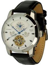 Trias Reloj Automático Modelo Inca Con 2 Huso Horario de Hombre Correa Cuero