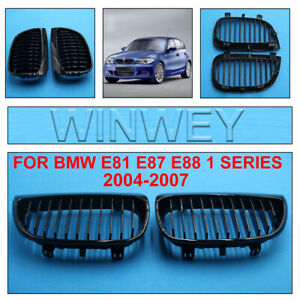Gloss Black Kidney Grill Grille For BMW E81 E87 E88 1 SERIES 2004-2007