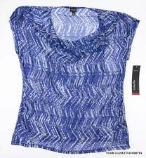 RAFAELLA Women's Cowl Neck Top S Small Blue/White Blouse