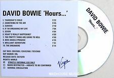DAVID BOWIE CD Hours 10 Track In-House UK Acetate Promo with Title sleeve