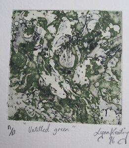 "LYNN KEATING AUSTRALIAN COLOUR INK ETCHING ""UNTITLED GREEN"" 1996 LTD ED"