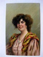 1910s Postcard  Beautiful Woman Portrait Nice Color Artist Signed B