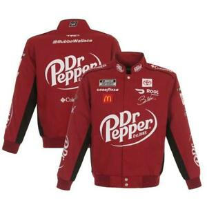 2021 Bubba Wallace Dr. Pepper Burgundy Twill Cotton Full-Snap Jacket JH Design