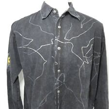 Shelby Elite Mens 2XL Black Silver Button Front Shirt