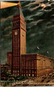 Vtg 1910's Metropolitan Life Building at Night New York City NY Antique Postcard
